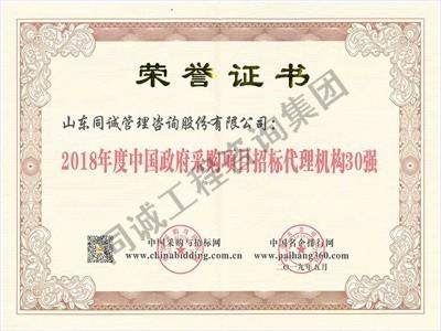 2018年度中国政府采购项目招标代理机构30强